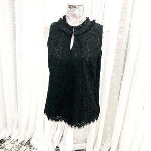 Black J. Crew Lace Sleeveless Blouse